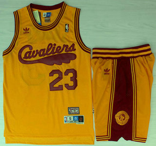 cheap for discount 925b8 e1f57 Cleveland Cavaliers #23 LeBron James 2009 Yellow Hardwood ...
