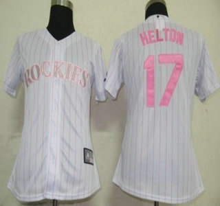 Colorado Rockies #17 Helton White With Pink Pinstripe Womens Jersey