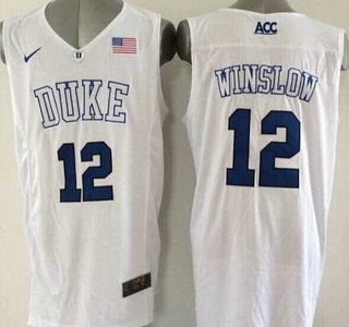 971f998246a Duke Blue Devils #12 Justise Winslow 2015 White Jersey