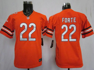 new styles cd9c9 90e4c Nike Chicago Bears 22 Matt Forte Orange Game Kids Jersey