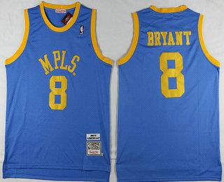 8841c2e0a13 ... Los Angeles Lakers 8 Kobe Bryant MPLS Blue Hardwood Classics Soul  Swingman Throwback Jersey ...