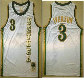 193cea344c39 Men s Bethel High School  3 Allen Iverson White Soul Swingman Basketball  Jersey