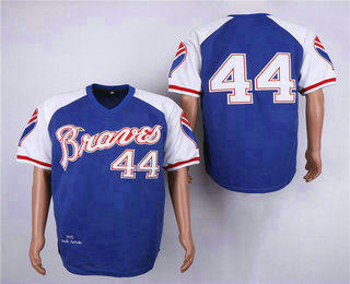 detailed look 8ad03 b174d Men's Atlanta Braves #44 Hank Aaron 1973 Light Blue Stitched ...