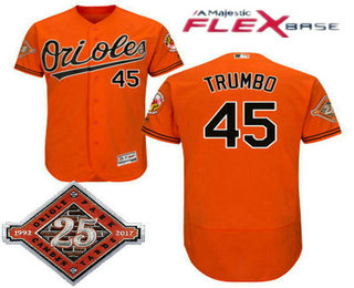 628ead4a4 ... mens baltimore orioles 45 mark trumbo orange 25th patch stitched mlb  flex base jersey