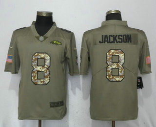 010808b30 Men s Baltimore Ravens  8 Lamar Jackson Olive With Camo 2018 Salute To  Service Stitched NFL Nike Limited Jersey