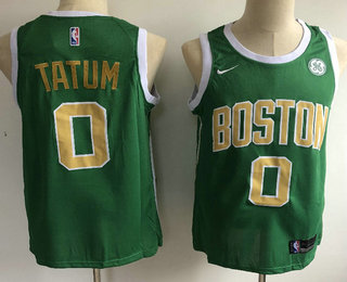 ac1c22c8cb27 Men s Boston Celtics  0 Jayson Tatum Green With Gold Name Nike Swingman  2018 playoffs Earned Edition Stitched Jersey With The Sponsor Logo