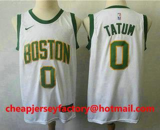 hot sale online 3ab2a 5b61a Men's Boston Celtics #0 Jayson Tatum White With Gold 2019 ...