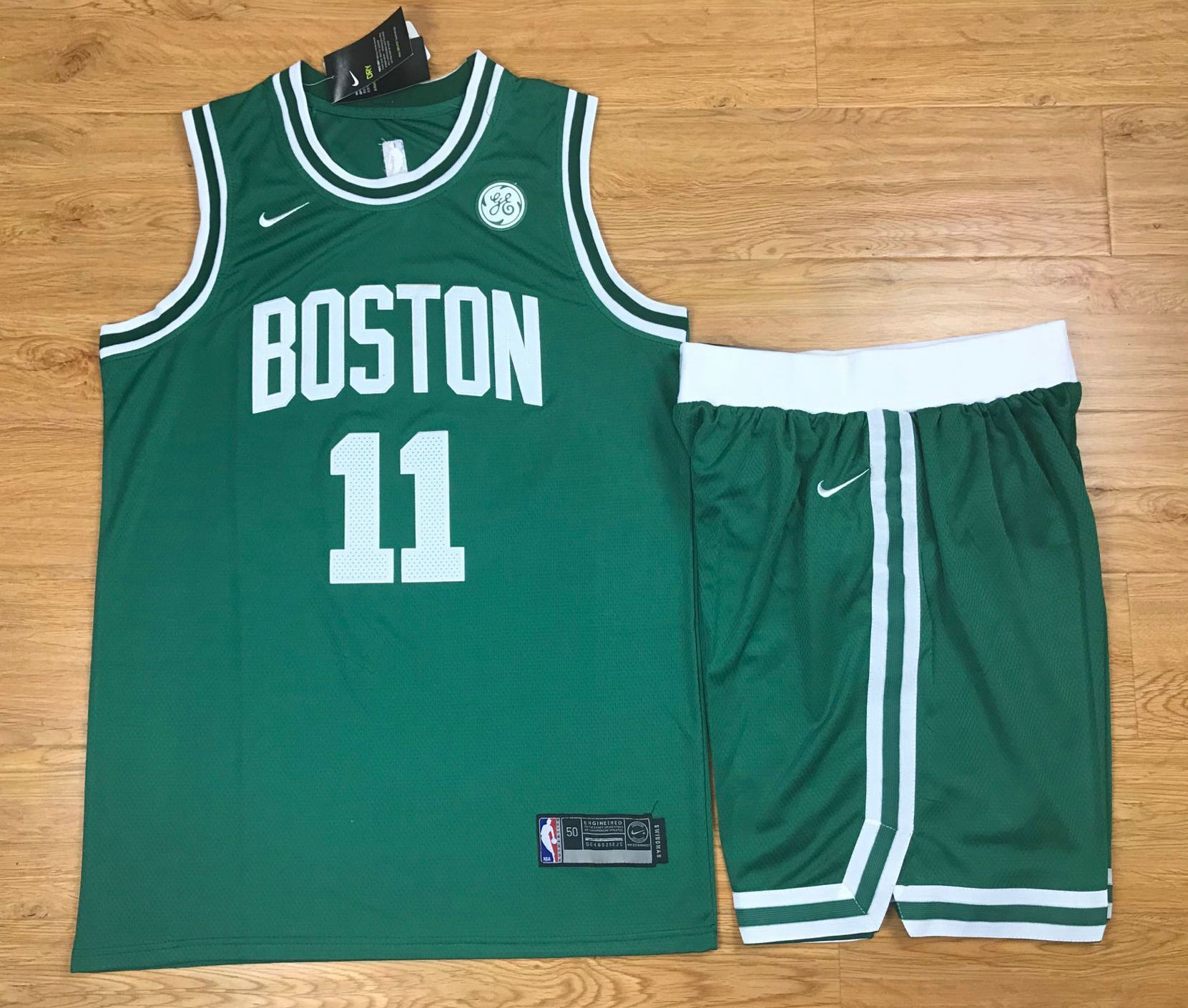 new season Men/'s Boston Celtics Basketball #11 Kyrie Irving  city Jersey Green