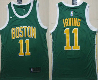 new product e978f 2462d Men's Boston Celtics #11 Kyrie Irving Green With Gold Name ...