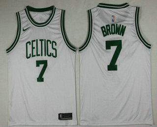 8175986b0c4 Men's Boston Celtics #7 Jaylen Brown White 2017-2018 Nike Swingman Stitched NBA  Jersey