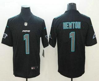 premium selection 195e8 393ec Men's Carolina Panthers #1 Cam Newton Black 2018 Fashion ...