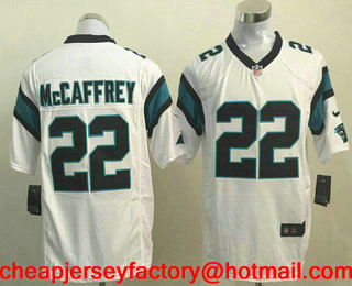 brand new 59808 801e2 Men's Carolina Panthers #22 Christian McCaffrey White Road ...