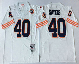 Top Men's Chicago Bears #40 Gale Sayers Blue With Bear Patch Throwback