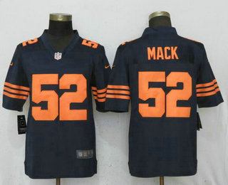 best loved 3a131 133f9 Men's Chicago Bears #52 Khalil Mack Blue With Orange ...