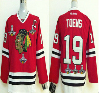 mens chicago blackhawks 19 jonathan toews red treble champions jersey with three stanley cup champio