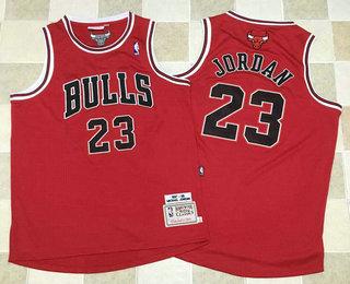 Men s Chicago Bulls  23 Michael Jordan 1997-98 Red Hardwood Classics Soul  AU Swingman fd038e493