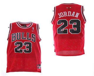 c1531c2c54fc Men s Chicago Bulls  23 Michael Jordan Red With White Name Stitched NBA Nike  Swingman Jersey