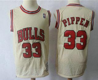 6b5d68e9aca Men's Chicago Bulls #33 Scottie Pippen Cream Hardwood Classics Soul Swingman  Throwback Jersey