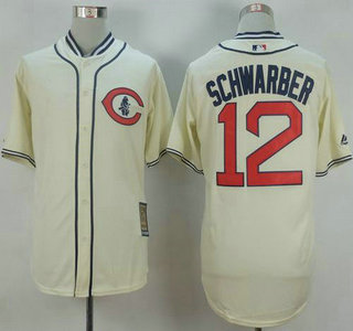 8be80fc3d ... Mens Chicago Cubs 12 Kyle Schwarber Cream 1929 Majestic Cooperstown  Collection Throwback Jersey ...