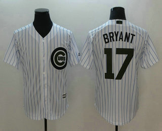 1257653e8ce Men s Chicago Cubs  17 Kris Bryant White 2018 Memorial Day Stitched MLB  Cool Base Jersey