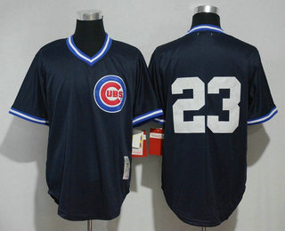 cheaper 4b187 896a3 Men's Chicago Cubs #23 Ryne Sandberg No Name Navy Blue ...