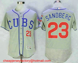 mens chicago cubs 23 ryne sandberg retired gray cubs stitched mlb 2016 flex base jersey