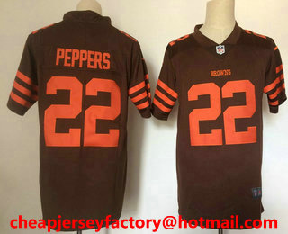 7d674d019a6 Men s Cleveland Browns  22 Jabrill Peppers Brown 2016 Color Rush Stitched  NFL Nike Limited Jersey