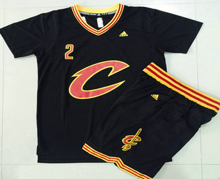 Men s Cleveland Cavaliers  2 Kyrie Irving Revolution 30 Swingman 2015-16 New  Black Short 2bbe2fd95