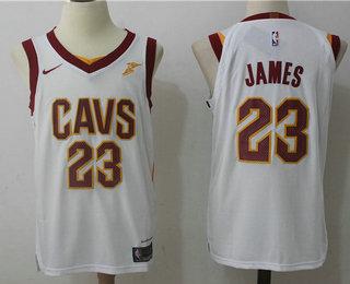 official photos 04d3c e7305 Men's Cleveland Cavaliers #23 LeBron James White 2017-2018 ...