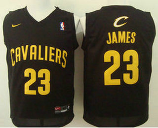 8064d0b8eae Men's Cleveland Cavaliers #23 LeBron James Revolution 30 Swingman 2016 Black  With Gold Nike Jersey
