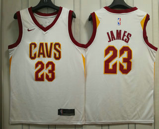 ee3a5148 Men's Cleveland Cavaliers #23 LeBron James White 2017-2018 Nike Swingman  Stitched NBA Jersey