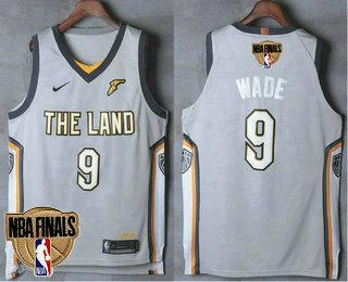 093dee48597 Men s Cleveland Cavaliers  9 Dwyane Wade 2018 The NBA Finals Patch City  Edition Gray Nike Swingman Jersey