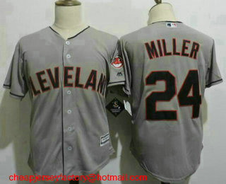 the latest 5bdbc 34dfa Men's Cleveland Indians #24 Andrew Miller Gray Road Stitched ...