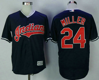 a36c9ae4a Men s Cleveland Indians  24 Andrew Miller Navy Blue Alternate Stitched MLB  Cool Base Jersey