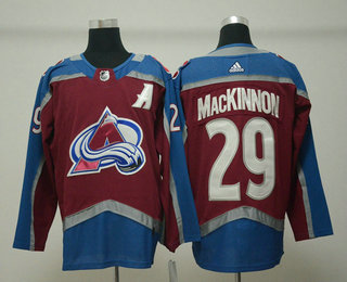 b0b8f6fff Men s Colorado Avalanche  29 Nathan MacKinnon Red With A Patch 2017-2018  Hockey Stitched NHL Jersey