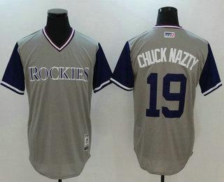 promo code e5647 7a6fd Men's Colorado Rockies Charlie Blackmon #19 Chuck Nazty Gray ...