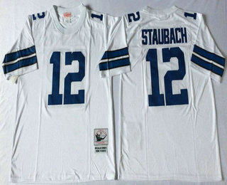 best service 51948 535e4 Men's Dallas Cowboys #12 Roger Staubach White Throwback ...