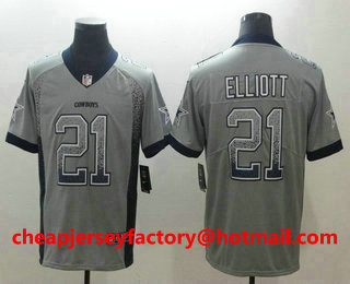 reputable site 38519 b1aa5 Men's Dallas Cowboys #21 Ezekiel Elliott Gray 2018 Fashion ...