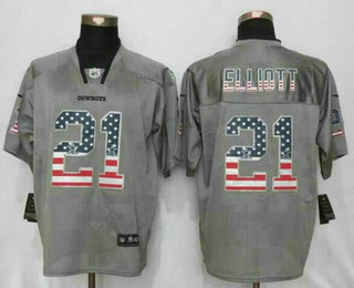 new concept ede4a 46479 Men's Dallas Cowboys #21 Ezekiel Elliott Gray Flag Fashion ...