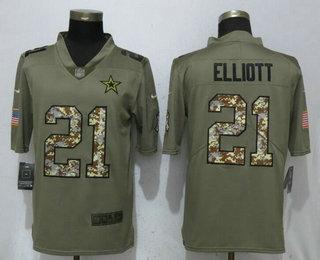 fb67679d7 Men s Dallas Cowboys  21 Ezekiel Elliott Olive With Camo 2017 Salute To  Service Stitched NFL Nike Limited Jersey
