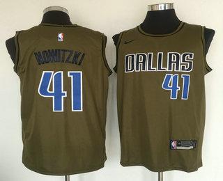 new styles 47f35 9a3f6 Men's Dallas Mavericks #41 Dirk Nowitzki Olive Stitched Nike ...