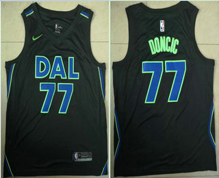ba9c09145 Men s Dallas Mavericks  77 Luka Doncic 2018 City Edition Black Nike  Swingman Jersey