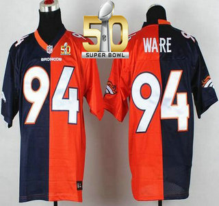3052af45609 Men's Denver Broncos #94 DeMarcus Ware Orange With Navy Blue 2016 Super  Bowl 50th Patch Bound Nike Elite Split Jersey