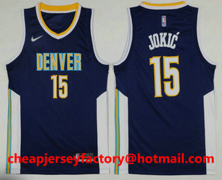 aa2a5a35a14 ... uk mens denver nuggets 15 nikola jokic navy blue 2017 2018 nike icon edition  swingman jersey