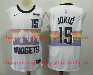 9ea9d04a135 Men's Denver Nuggets #15 Nikola Jokic New White 2019 City Edition NBA  Swingman Western Union Stitched NBA Jersey