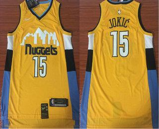3c3928c30e0 Men s Denver Nuggets  15 Nikola Jokic New Yellow 2017-2018 Nike Swingman  Stitched NBA Jersey