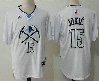 326ac578905 Men s Denver Nuggets  15 Nikola Jokic White Short-Sleeved Stitched NBA  Revolution 30 Swingman Jersey