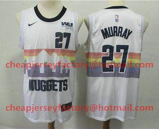 85385608b3f Men s Denver Nuggets  27 Jamal Murray New White 2019 City Edition NBA  Swingman Western Union Stitched NBA Jersey