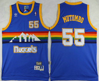 a9c225f45ab4 Men s Denver Nuggets  55 Dikembe Mutombo Blue Rainbow Hardwood Classics  Soul Swingman Throwback Jersey