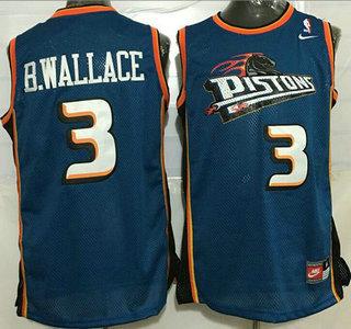 size 40 4068e 254e0 Men's Detroit Pistons #3 Ben Wallace Teal Blue Hardwood ...